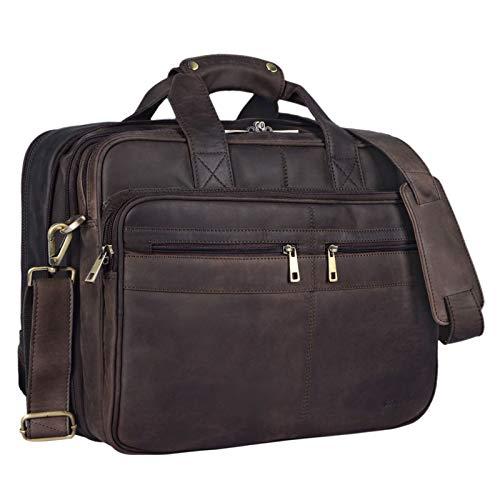 STILORD 'Alexander' Lehrertasche Herren Leder Vintage Aktentasche Laptoptasche Bürotasche Businesstasche groß XXL Umhängetasche mit Dreifachtrenner, Farbe:matt - Dunkelbraun