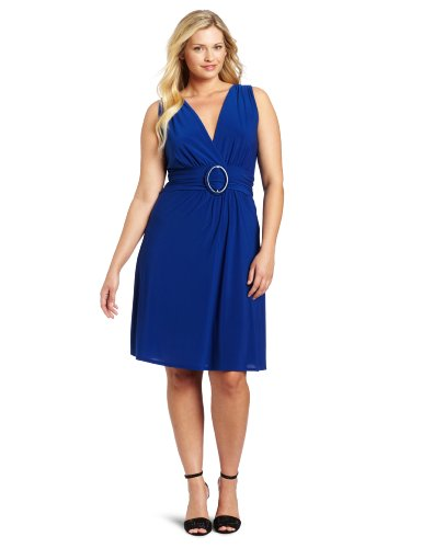 Star Vixen Women's Plus-Size Sleeveless O-Ring A-Line Dress, Royal Solid, 3X