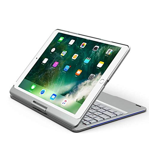Keyboard Case For iPad Air 3 10.5 Rotate Colorful Backlight Wireless Bluetooth Cover For iPad Pro 10.5 Alloy Fundas-Silver