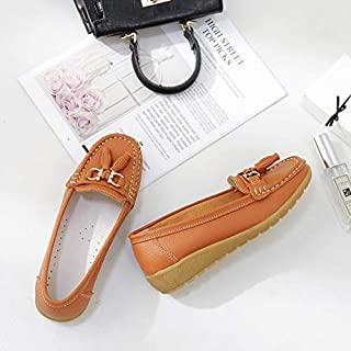 YKDY Round Head Solid Color Tassel Decorative Casual Shoes for Woman (Color:Black Size:35)