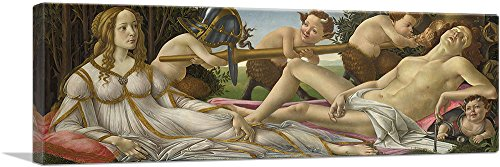 "ARTCANVAS Venus and Mars 1480 Canvas Art Print by Sandro Botticelli - 48"" x 16"" (1.50"" Deep)"