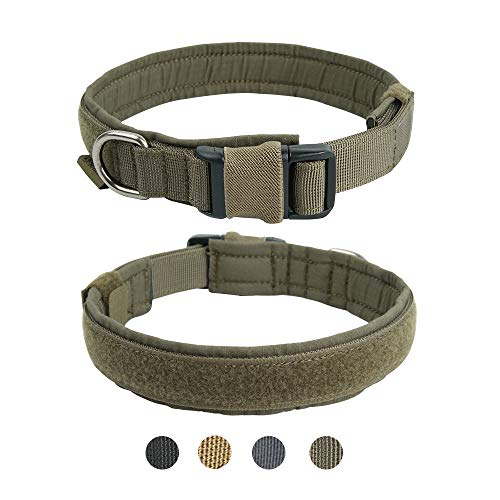 "EXCELLENT ELITE SPANKER 1.4"" Breite Hundehalsband Military Training Nylon Verstellbares Hundehalsband für große mittelgroß kleine Hunde(Olivgrün-L)"