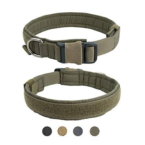 EXCELLENT ELITE SPANKER Collare per Cane Collare per Cane Militare Collare per Cane in Nylon a sgancio rapido Regolabile per Collare per Cani di Taglia Media di Piccola Taglia(Verde Fumo-S)