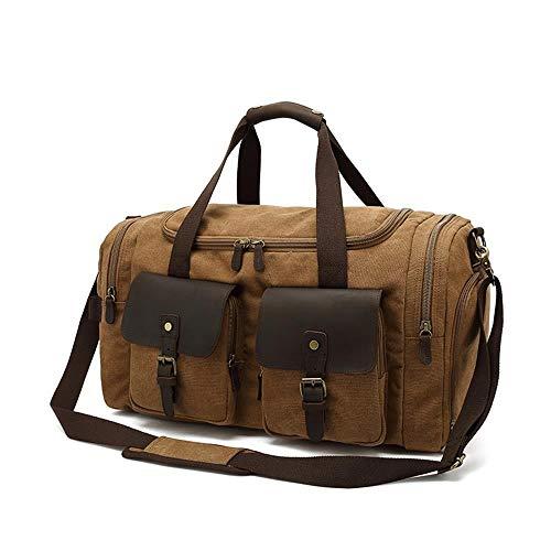 Canvas Duffel Bag Vintage Weekender Overnight Bag Travel Tote Luggage Sports Bag (Color : Khaki)