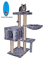 """Overall size:25.98""""x16.14""""x35.43"""" Notice: Please try to place it against the wall High quality faux fur, natural jute posts durable for long time scratch Three Levels for cat climb up and down,provide a comfortable and Spacious home for cat to sleep ..."""