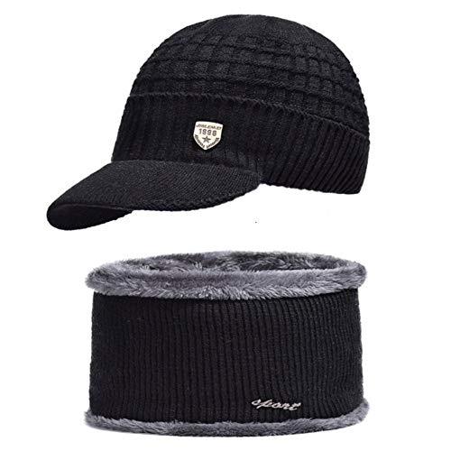 Simpe Sombrero de Invierno Gorros Sombreros Gorros de Invierno para Hombres Mujeres Gorros de Lana Bufanda Máscara Gorras Sombrero de Punto, Sombrero Negro y Bufanda, 55-61 cm