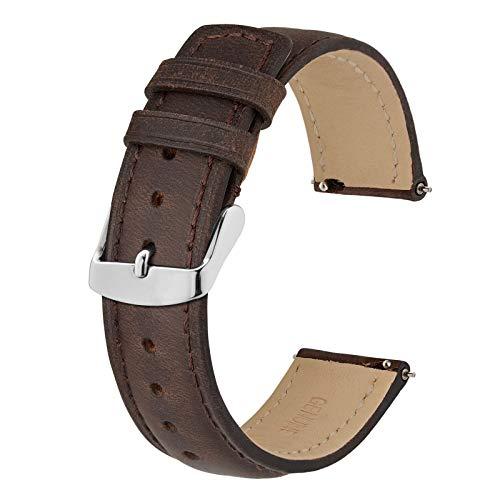 BISONSTRAP 14mm Correa de Reloj con Cierre Rápido, Correas de Repuesto de Cuero Retro (Marrón)
