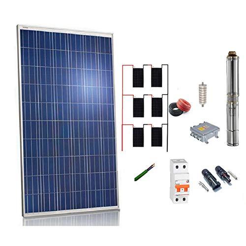 Kit solar Bombeo 1100w / 1.5cv Caudal max. 3300 Litros/hora Altura 106 metros bomba sumergible 24v