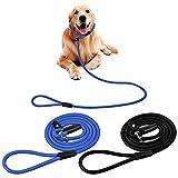 2Pcs Cuerda de Correa ,130CM Ajustable de Nylon Trenzada Correa Retriever Cuerda de Entrenamiento Correas para Perros Pequeños Medianos Grandes (Negro+Azul)
