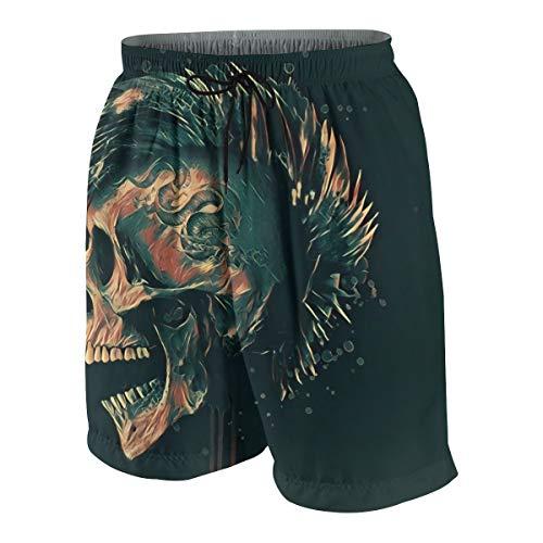 KATERN Hombre Pantalones Cortos de Playa,Punk Skull Art Illustration.Tema de la...