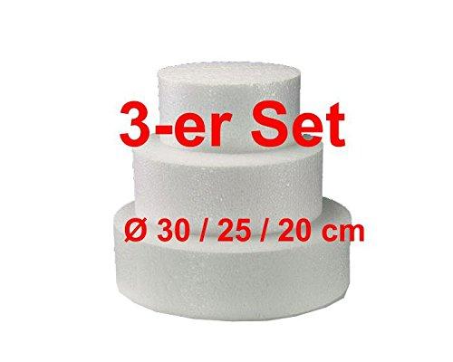 EPS-Zuschnitte rund, 3-er Set, Ø 30/25 / 20 cm, Styropor