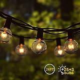 【Atmosfera romantica】Questa catena luminosa G40 è composta da 25 lampadine e 3 lampadine di ricambio. Perfetto per arredare il giardino, la terrazza, il soggiorno, la camera da letto, il bar. E adatto per compleanno, matrimonio, Natale, Halloween, Pa...