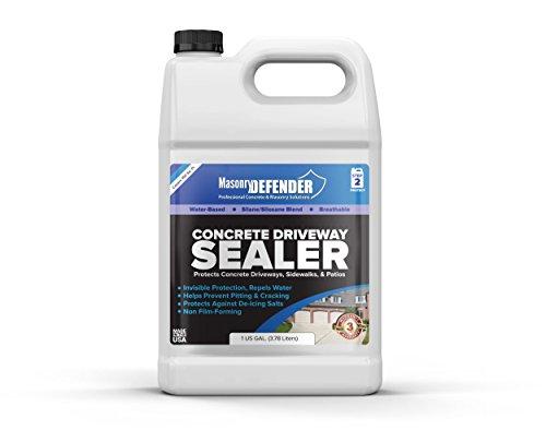 Masonrydefender 1 gallon penetrating concrete sealer for driveways, patios, sidewalks - clear water-based silane siloxane sealer waterproofer with de-icing salt protection