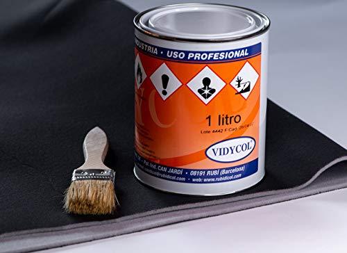 Kit tela para tapizar techo de coche, pegamento alta temperatura y brocha (GRATIS). Tejido negro foamizado de 2m de largo x 1,45m de ancho. 1 litro de cola y pincel para aplicarlo
