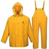 Rain Suit for Men Women Leathercraft Rain Gear Heavy Duty 3-Piece Fire Resistant Commercial Rain Jacket with Bib Pants Overall(Yellow,XX-Large)
