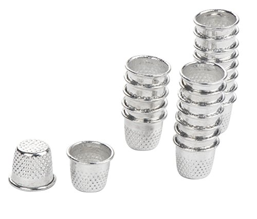 Juvale Sewing Thimbles - 100-Pack Metal Finger Protectors, Vintage Pin Needle Shields for DIY Craft, Accessories Making, Quilting, Needlework, Silver