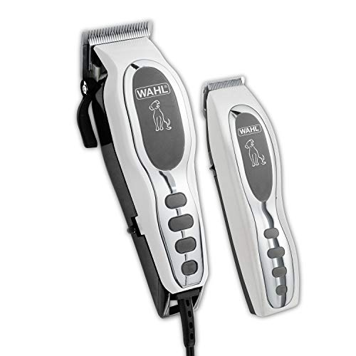 Wahl Pet-Pro Clipper & Trimmer Pet Grooming Combo Kit for Dogs and Cats: Comes with a corded Clipper and a battery operated Trimmer, by The Brand Used By Professionals. #9284,Chrome/White