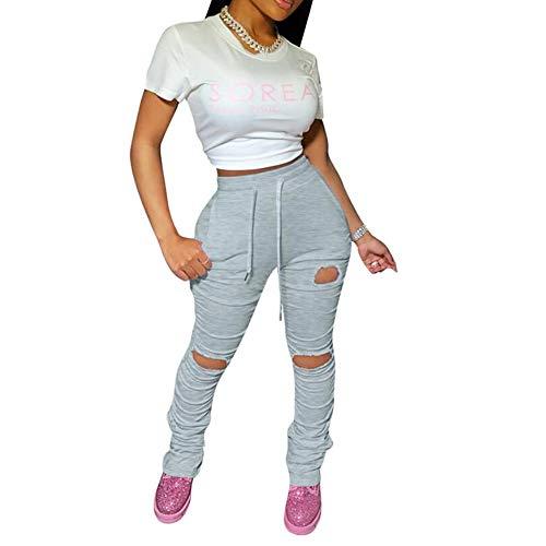 Beafeimei Damen-Leggings, gestapelt, gerissenes Loch, mit Kordelzug, für Joggen / Yoga / Sport, mit Taschen - Schwarz - X-Groß
