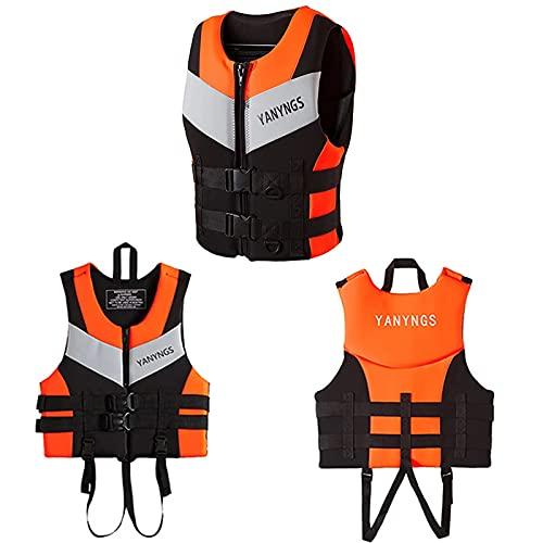 Rettungswesten Schwimmweste Auftriebsweste füR Boote Erwachsene Damen Kajak Schwimmweste der Fischerkleidung im Freien Auftrieb,Orange,XL