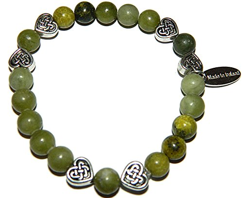 Irish Connemara Marble Celtic Heart Beaded Bracelet