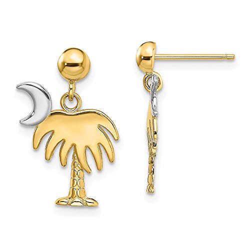 14k Two Tone Gold with Rhodium Plated Charleston Palm Tree with Moon Dangle Earrings
