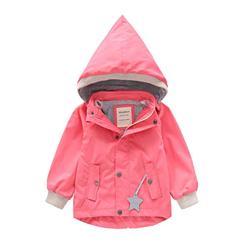 HDUFGJ Kinderjacke Jungen Mädchen Softshell-Jacke Wasserdicht Plus Samt mit Kapuze Jacke Kapuze Regenmantel wasserdichter Übergangsjacke