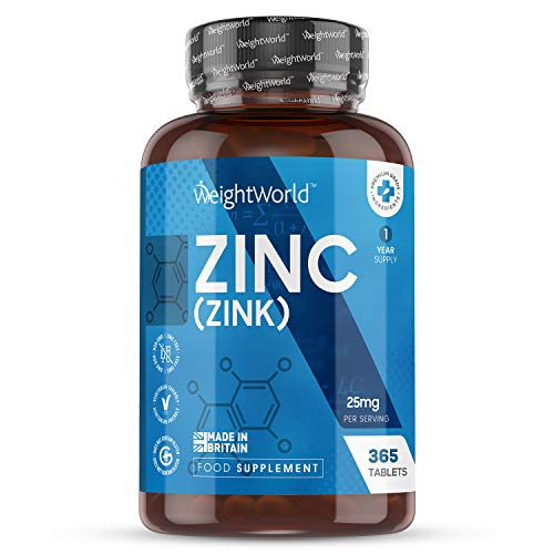Zinc 25 mg Vegano 365 Comprimidos, Suministro Anual - Gluconato de Zinc, Mejora el Sistema Inmunologico, Aumenta Metabolismo, Fortalece Cabello, Piel, Huesos y Uñas, Ayuda a Aumentar Testosterona