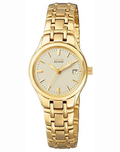Citizen dames analoog kwarts horloge met roestvrij staal gecoate armband EW1262-55P