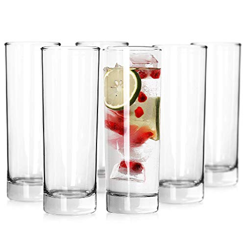 LUXU Highball Glasses(Set of 6)-10 oz,Lead-free Drinking Glasses with Heavy Base,Premium Collins Tumblers,Durable Clear Tall Glass Cups for Water,Juice,Beer,Wine,Beverages,Cocktails and Mixed Drinks
