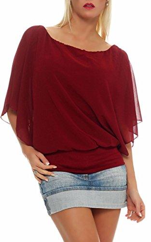 Damen Bluse im Fledermaus Look | Tunika mit Rundhals und breitem Bund | Blusenshirt Kurzarm | Elegant - Shirt 6296 (Bordeaux)