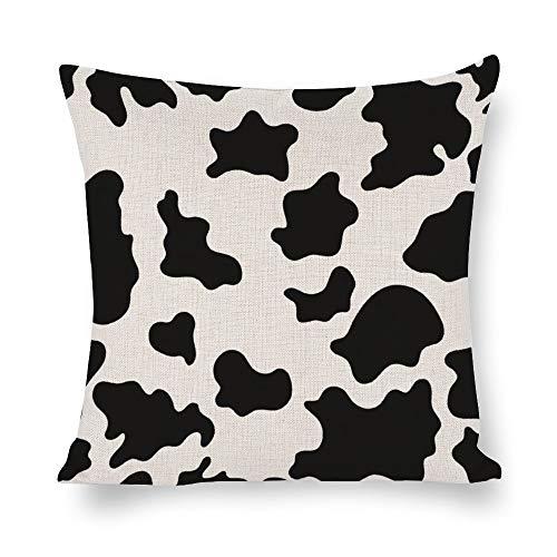 N/ A Animal Skins - Funda de cojín decorativa para sofá (lino, cuadrada, diseño de vaca y cebra), Lino, Como se muestra en la imagen, 22x22 inch