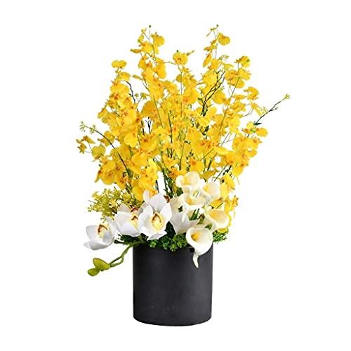 Conjunto de arreglo de Flores Artificiales de orquídea Bailando con jarrón Arte Floral Falso Adornos de decoración de Escritorio para Sala de Estar