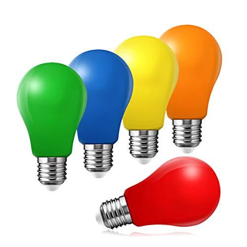 5er Set farbige LED Leuchtmittel Birnenform 3W E27 gemischt Rot Gelb Grün Blau Orange, farbige Glühbirnen Party Glühbirnen