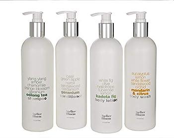 Atelier Bloem Bath & Body Set with Mandarin & Citrus Body Wash Kadota Fig Body Lotion Oolong Tea Shampoo and Geranium Conditioner - 16 oz Bottles
