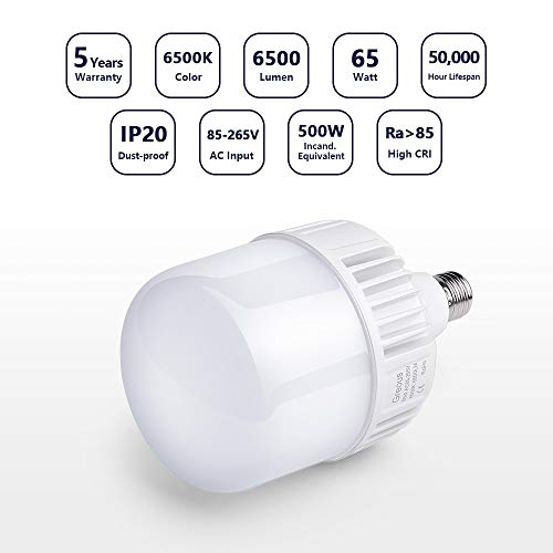 Greous Super Bright 400W-500W Light Bulb Equivalent, 65W LED Bulb 120 Volt Cool White 6500K E26, 6500 Lumens,High Watt Commercial Retrofit LED Bulbs for Yard Garage Factory Warehouse Workshop
