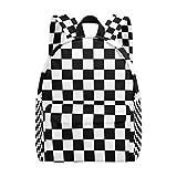 Zainetto scolastico nero e bianco con stampa a griglia, zaino alla moda per uomini, donne, ragazzi e ragazze