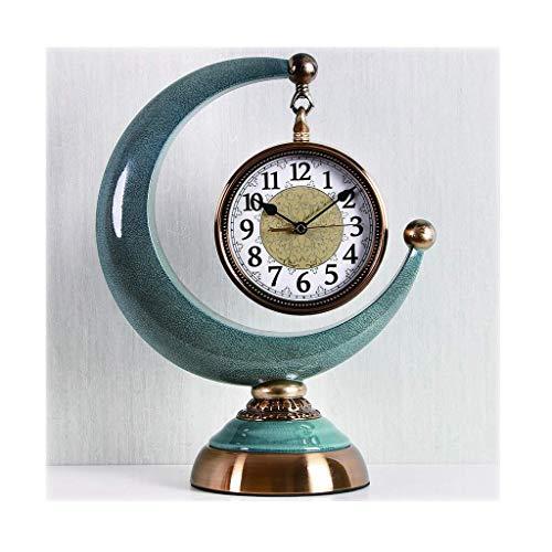 Schreibtischuhr/kreativ, Mode, Licht, Haupttischuhr/Kaminuhr, 15,7 Zoll, Standuhr, Blaue Keramik
