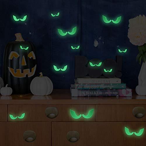 Unomor - Adesivi da parete fluorescenti, motivo occhi di Halloween, confezione da 46 pezzi