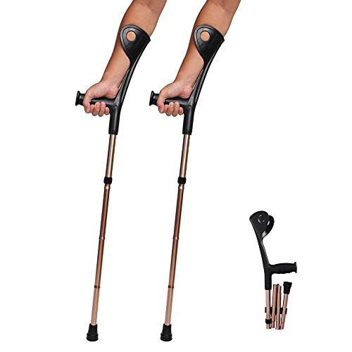 AILSAYA Crutch Folding Elbow, Aluminum Alloy, Four Folds, Elbow, Forearm Crutch Elbow Crutches Foldable Ultralight Aluminum Assistance Hight Adjustable(100-110) cm with Comfy Handle,2pcs
