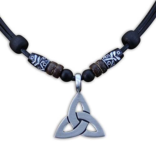 HANA LIMA ® Halskette Keltenschmuck Keltischer Knoten Lederkette Herren Damen Metallanhänger