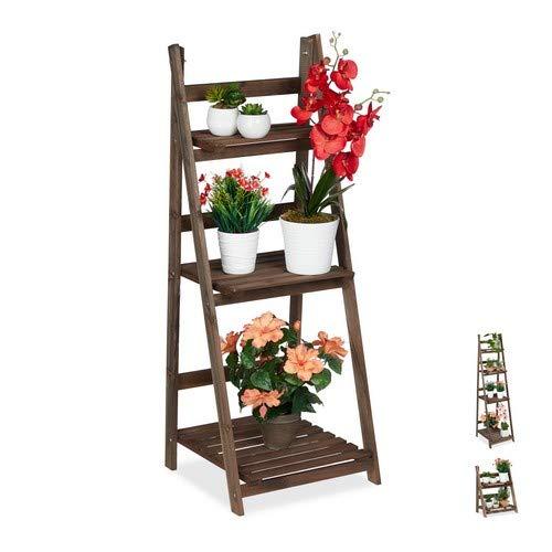 Relaxdays Blumentreppe, 3-stufig, Blumenleiter Holz, klappbar, Leiterregal Pflanzen, HBT: 108 x 41 x 40 cm, Dunkelbraun