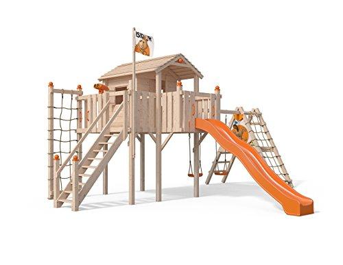 Terrizio XL-Spielturm Baumhaus mit erweitertem Schaukelanbau und Sicherheitstreppe, Rutsche, Doppelschaukel, Kletternetz und Spielhaus auf 1,50 Meter Podesthöhe (Orange)
