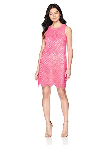Eliza J Women's Sleeveless Lace Shift Dress, Hot Pink, 14 Petite