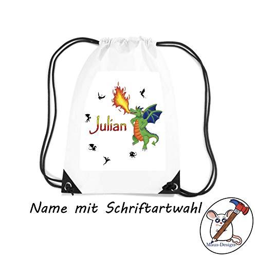 Drachen Turnbeutel mit Name/Schriftartwahl/Sporttasche/Sportbeutel/Geschenkidee/Schule/Einschulung/Vorschule/grüner Drache/Dragon
