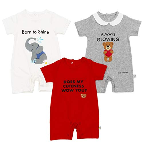 3-6 Months Baby Boys Girls 3-Pack Romper Shorts Clothes Unisex 100% Cotton, White Red Grey, Elephant Teddy Bear, Fun Writings, Newborn Infant Gifts (3-6 Months)