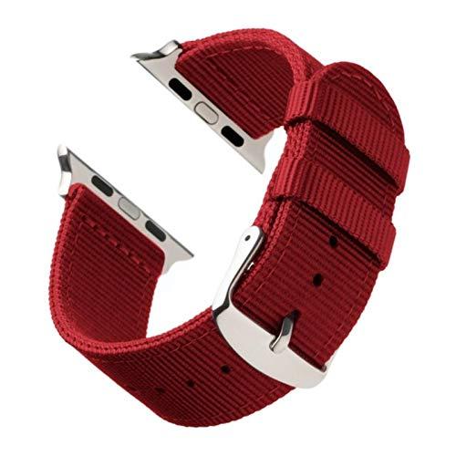Correa de nailon transpirable para Apple Watch, correa de reloj ligera para iWatch Series SE / 6/5/4/3/2/1-Red White, 38 mm
