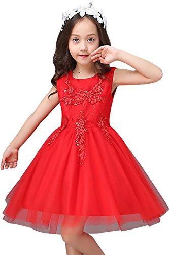 Babyonlinedress Mädchen Prinzessin Kleid Spitze Blumenkinder Blumenmädchenkleid mit Perlen und Strass Rot 140