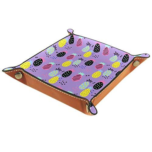 ATOMO Bandeja de almacenamiento de cuero con diseño de piña y fruta, color morado, para guardar monedas, organizador de mesita de noche