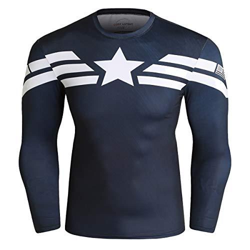 Cody Lundin Superhero, Camisas Ajustadas de Manga Larga para Hombre, Camisetas de Deporte, Camisetas de Deporte para Hombres (Color-b, XL)