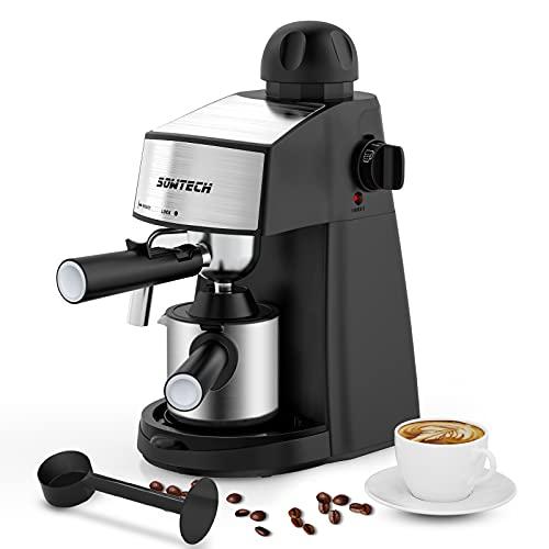 Cafetera Espresso, Máquina de café espresso vaporizador, cafetera, máquina de capuchino con varilla de espumador de leche para espresso Hasta 4 Tazas, 800 W
